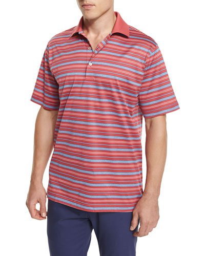 Sandy Striped Cotton Lisle Polo Shirt, Red