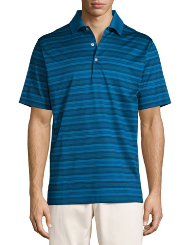 Hurricane Striped Cotton Lisle Polo Shirt, Blue/Black