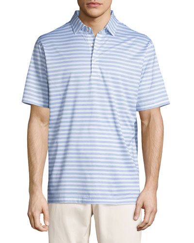 Charley Striped Cotton Lisle Polo Shirt, White/Blue
