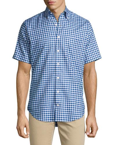 Check Short-Sleeve Oxford Shirt, Navy/White
