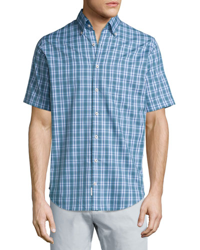 Plaid Short-Sleeve Sport Shirt, Blue