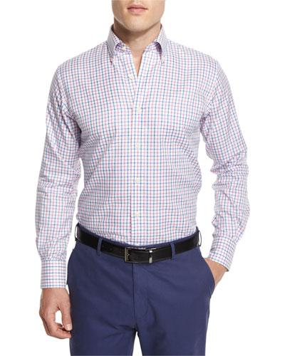 NanoLuxe Tattersall Long-Sleeve Sport Shirt, Blue/Pink/White