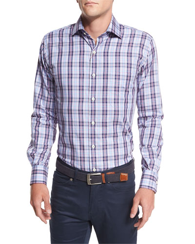 Plaid Sport Shirt, Navy Multi