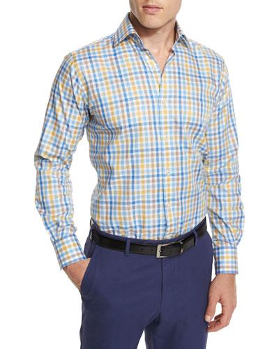 Melange Check Long-Sleeve Sport Shirt