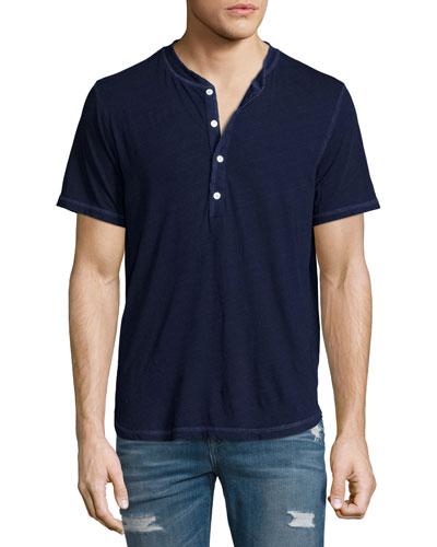 Short-Sleeve Henley T-Shirt, Indigo