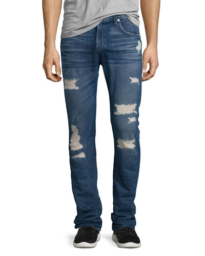Paxtyn Distressed Denim Jeans, Forgotten Cove