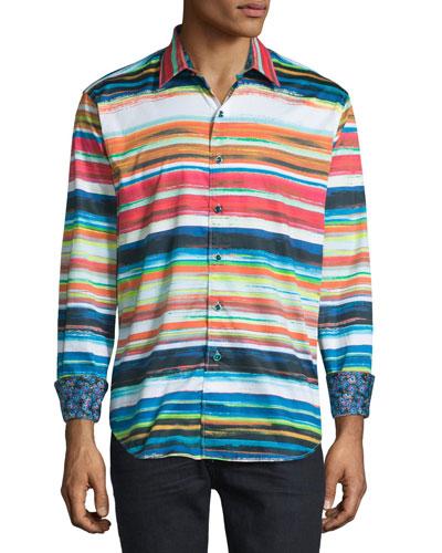 Red Rock Multicolored-Striped Sport Shirt, Multi