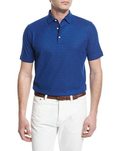 Gran Short-Sleeve Pique Polo Shirt, Blue