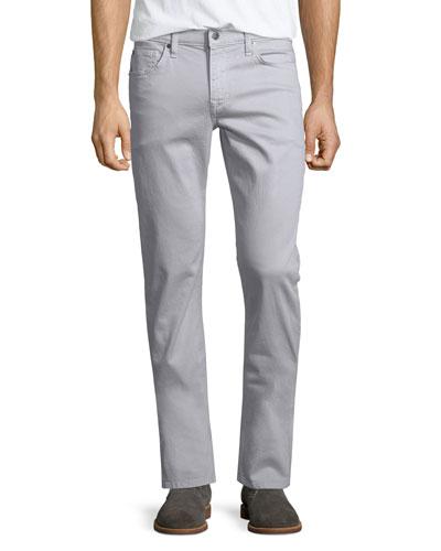 Neutral Slim-Fit Twill Pants, Light Gray