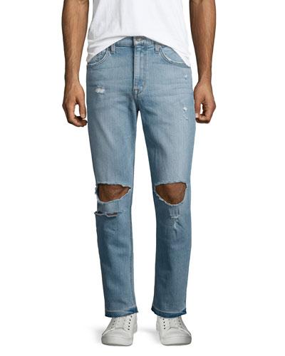 Rude Boy Neu Destroyed Denim Jeans, Light Blue