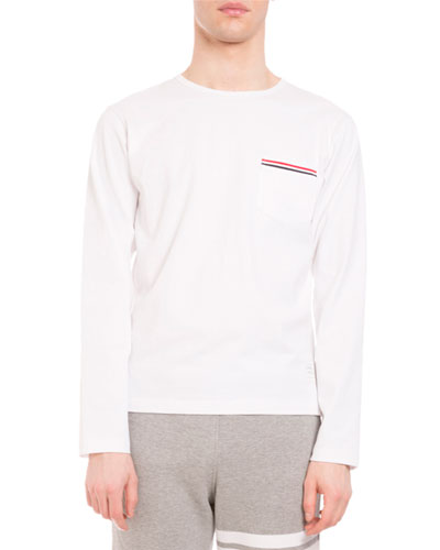 Striped-Trim Long-Sleeve Crewneck T-Shirt, White