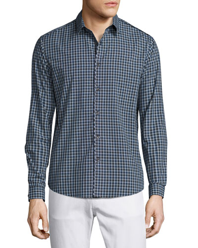 Benner Small-Check Sport Shirt, Victory Multi