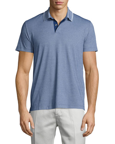 Sandhurst Tipped Pique Polo Shirt, Blue Heather