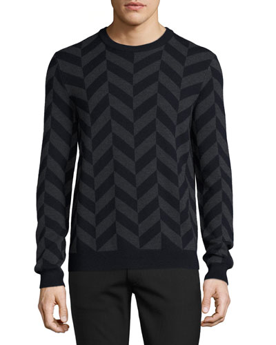 Herrigs Chevron Crewneck Sweater, Eclipse