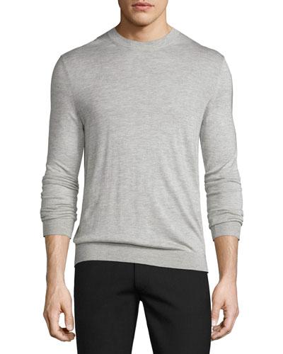Riland Silk-Cashmere Crewneck Sweater, Foam Heather