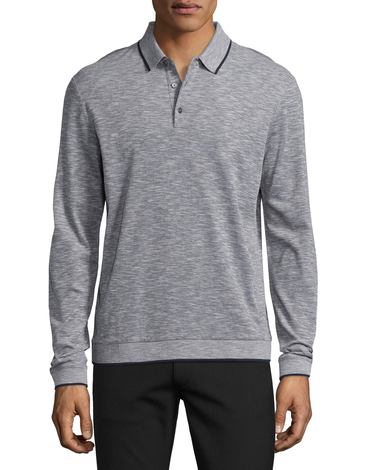 Petrik Long-Sleeve Pique Polo Shirt w/Contrast Tipping, White Multi(?)