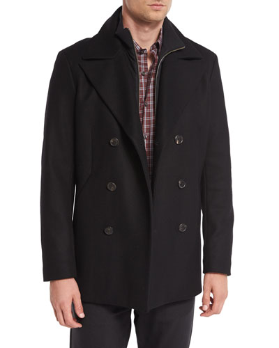 Mercer Double-Breasted Pea Coat, Black
