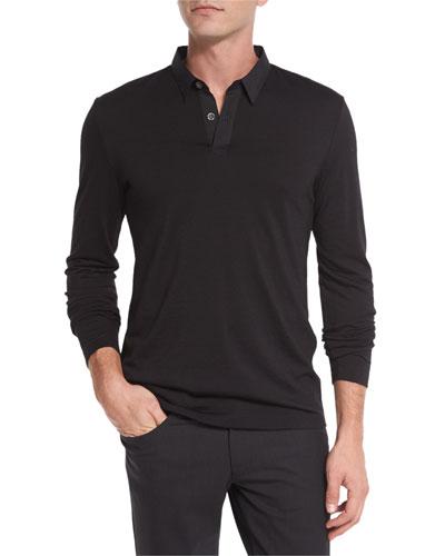 Jergen Long-Sleeve Polo Shirt, Black