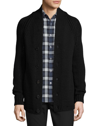 Roden Merino Wool-Blend Cardigan, Black
