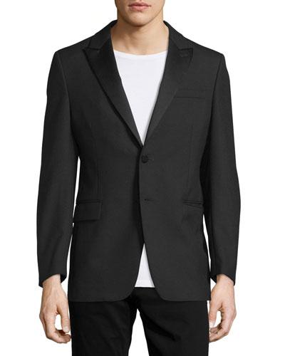 Peak Lapel Two-Button Blazer, Black