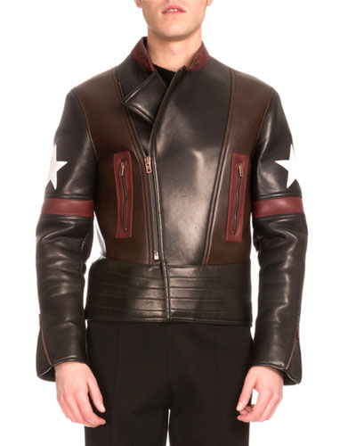 Star Colorblock Leather Biker Jacket