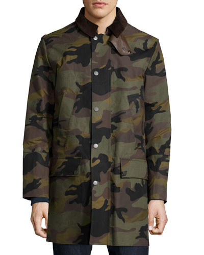 Snap-Front Camouflage Long Coat, Army