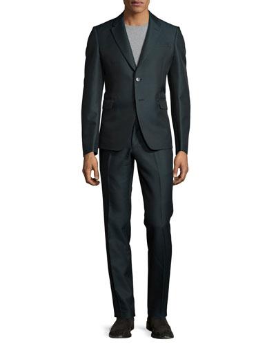 Notch-Lapel Two-Button Suit, Green