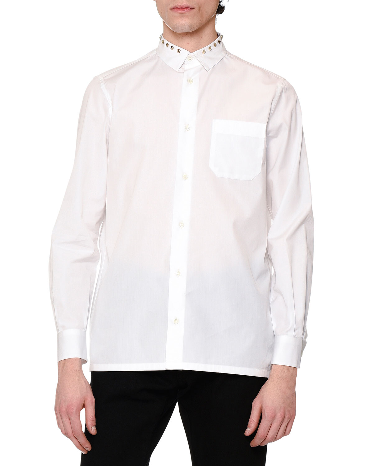 Rockstud-Collar Long-Sleeve Sport Shirt, White