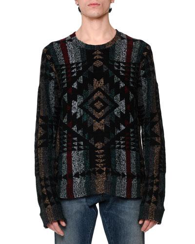 Tribal Intarsia Crewneck Sweater