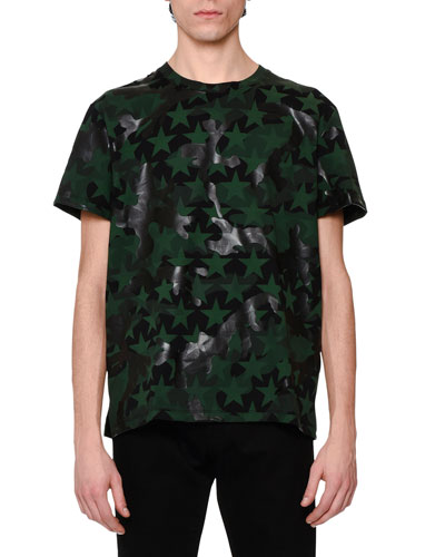 Camo & Star-Print T-Shirt, Green/Black