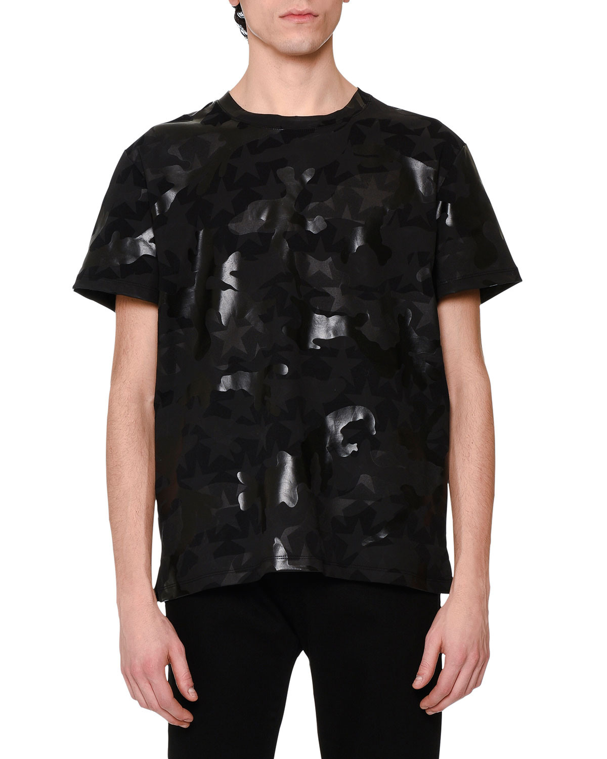 Camo & Star-Print T-Shirt, Black