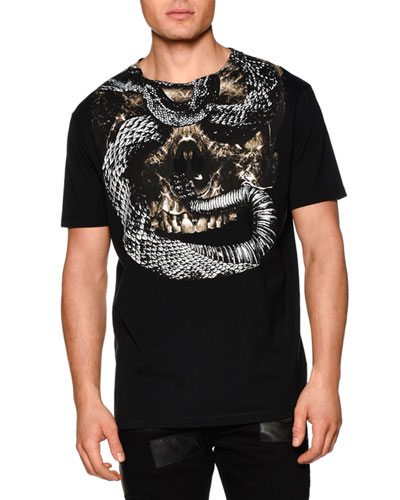 Skull/Snake-Graphic Short-Sleeve Tee, Black Multi