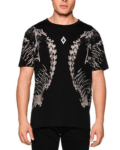 Skeleton-Print Short-Sleeve Graphic Tee, Black Multi