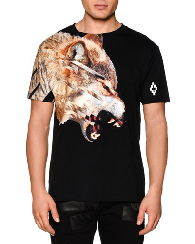 Wolf-Print Short-Sleeve Graphic Tee, Black Multi