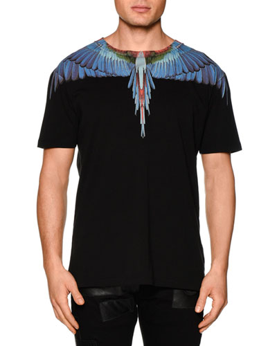 Multi Feather-Print Short-Sleeve Tee, Black Multi