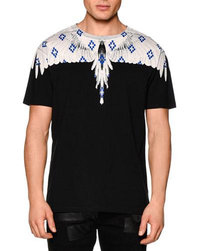Feather-Print Short-Sleeve Tee, Black Multi