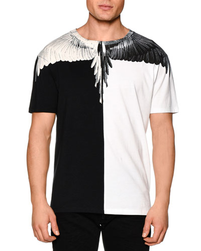 Colorblock Feather-Print Short-Sleeve Tee, Black/White