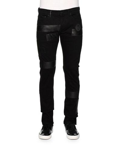 Slim-Fit Denim Jeans w/Faux-Leather Patches, Black