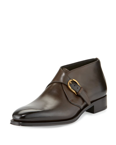 Gervasio Tramezza Limited Edition Single-Monk Burnished Calfskin Boot, Brown