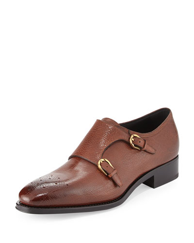 Galati Double Monk-Strap Textured Loafer, Brown