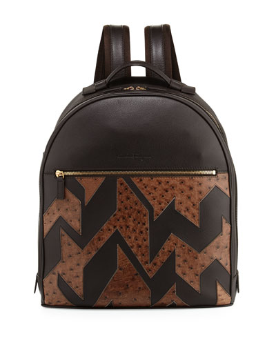 Men's Patchwork Leather & Ostrich Backpack, Hickory
