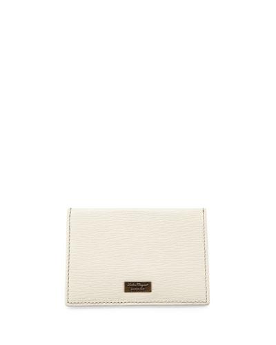 Revival Leather Flat Card Case, Schiuma/Black