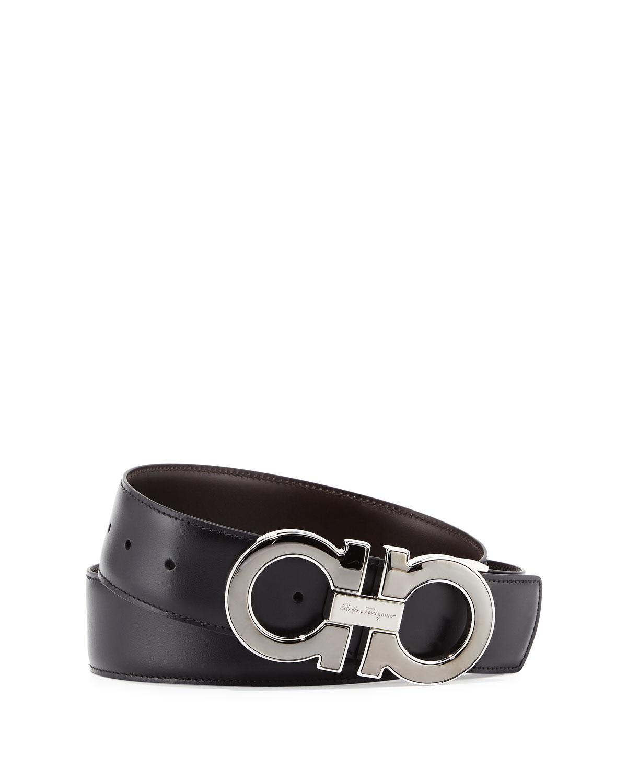 Men's Reversible Leather Gancini-Buckle Belt