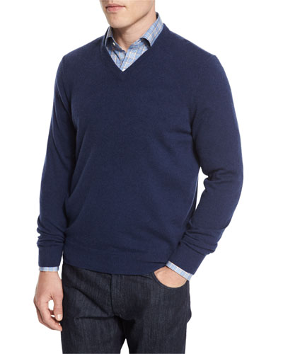 Cashmere V-Neck Sweater, Navy