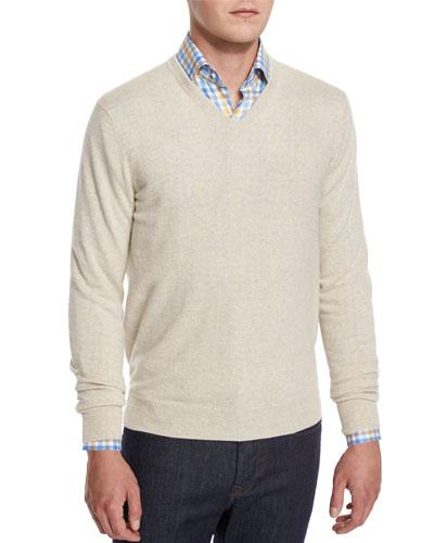 Cashmere V-Neck Sweater, Spelt