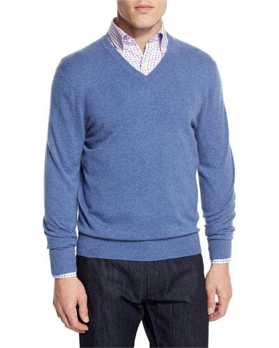 Cashmere V-Neck Sweater, Denim