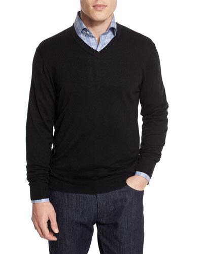 Cashmere-Silk V-Neck Sweater, Black