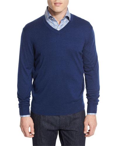 Cashmere-Silk V-Neck Sweater, Navy
