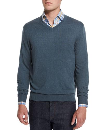Cashmere-Silk V-Neck Sweater, Nightingale