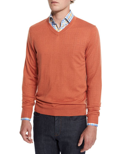 Cashmere-Silk V-Neck Sweater, Pumpkin
